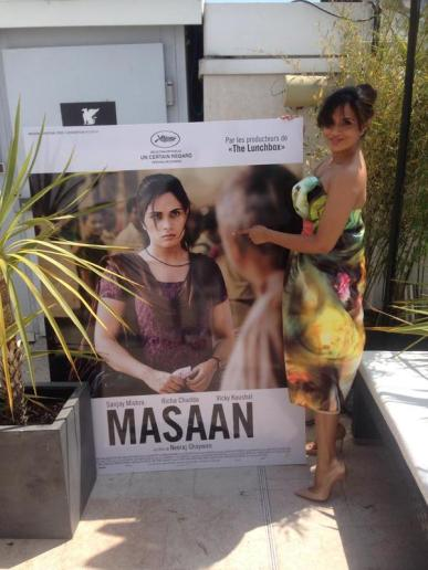 Richa with film's poster