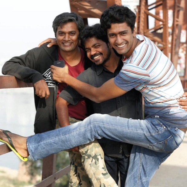 Avinash Arun (centre) with Neeraj Ghaywan (Director) and Vicky Kaushal (Actor).