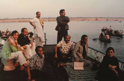 A boat trip after a hard day' shoot. Soumitra, Utpal Dutta, make-up man Ananta Das, Production Designer Ashoke Bose, DOP Soumendu Roy, Kamu Mukherjee, Ray and wife Bijoya, Benaras 1978