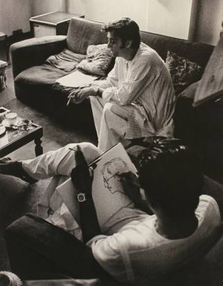 "At his Bishop Lefroy Road residence, Ray sketches Soumitra during the pre-production of ""Ashani Saket"", Kolkata 1973"