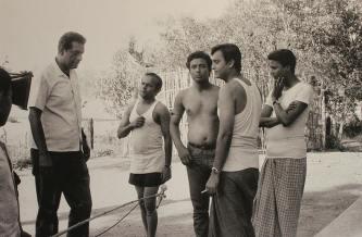 "Ray with Rabi, Subhendu, Samit and Soumitra during the shoot of "" Aranyer Dinratri"", Bihar 1970"