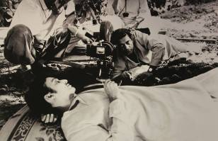 Shooting the garden scene, Soumitra as Amal and Ray, Kolkata 1964