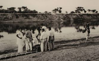 "Shooting the last shot of ""Apur Sangsar"", Maheshgunj, West Bengal 1958"
